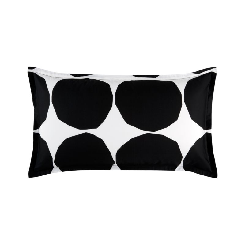 """Designed in 1956, Kivet (""""stones"""") marked the beginning of the close relationship between the legendary designer Maija Isola and Marimekko. A simple yet modern pattern, originally created by cutting paper circles with scissors, Kivet has been recreated in a variety of colors since its inception in black on white. Its simplicity makes the pattern an iconic and fundamental Marimekko print, representative both of the company's philosophy and graphic legacy. Pillow sham has a 1"""" flange and generous back flap closure. Bed pillows also available.<br /><br /><NEWTAG/><ul><li>Pattern designed by Maija Isola; 1956</li><li>100% cotton percale</li><li>300-thread-count</li><li>Machine wash cold</li><li>Made in Pakistan</li></ul>"""