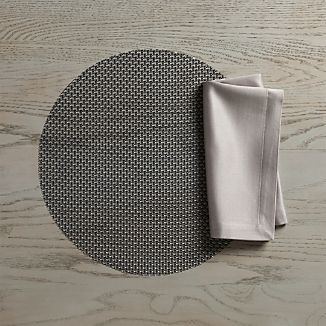 Chilewich ® Knitty Black Vinyl Placemat and Sateen Silver Napkin