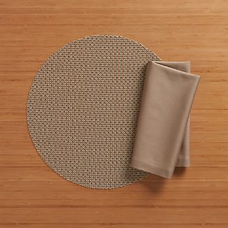 Chilewich ® Knitty Neutral Vinyl Placemat and Fete Brindle Cotton Napkin