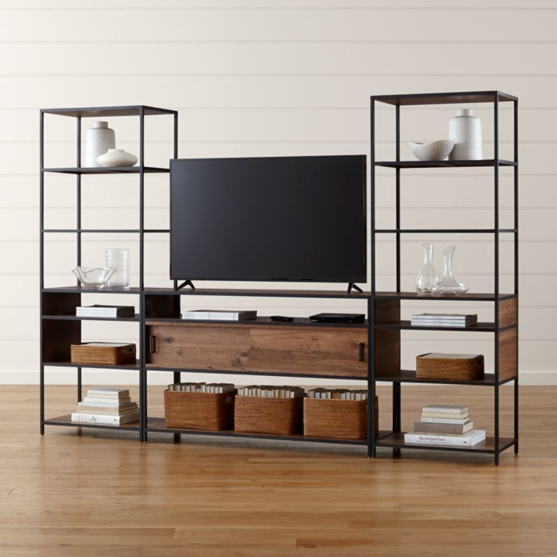 Knox Media Console With 2 Tall Open Bookcases Crate And