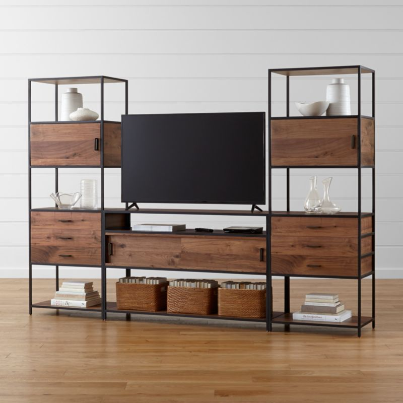 knox media console with 2 tall storage bookcases crate and barrel. Black Bedroom Furniture Sets. Home Design Ideas