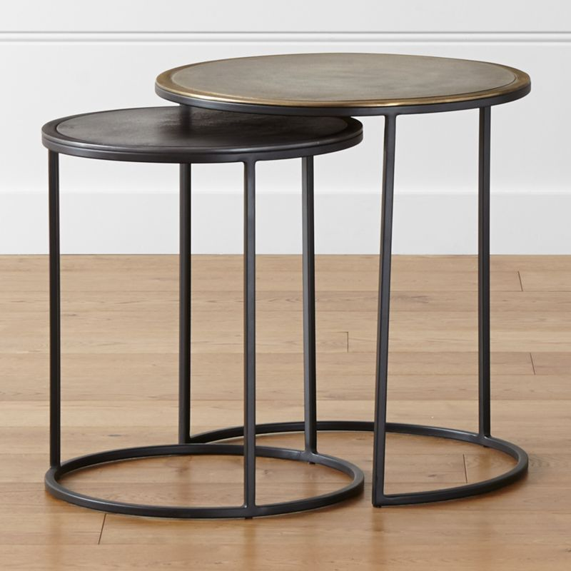 Crate And Barrel Black Marble Coffee Table: Knurl Nesting Accent Tables Set Of Two