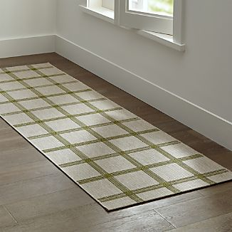 Koen Grid Green Indoor-Outdoor 2.5'x8' Rug Runner