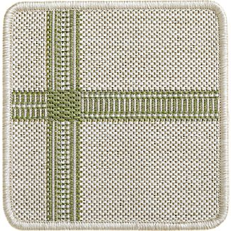 "Koen Grid Green Indoor-Outdoor 12"" sq. Rug Swatch"