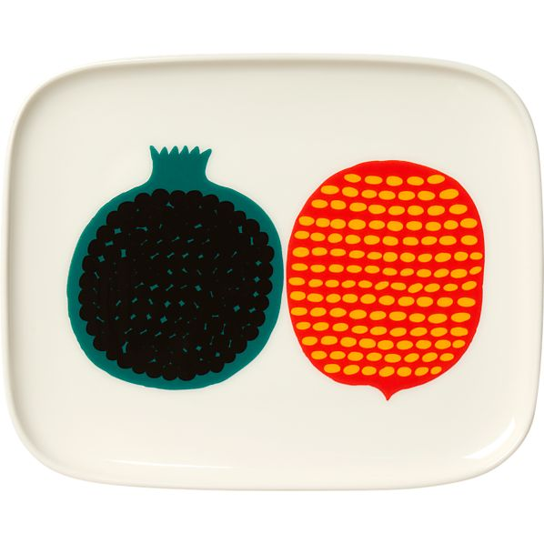 Marimekko Kompotti Multi and White Rectangular Plate