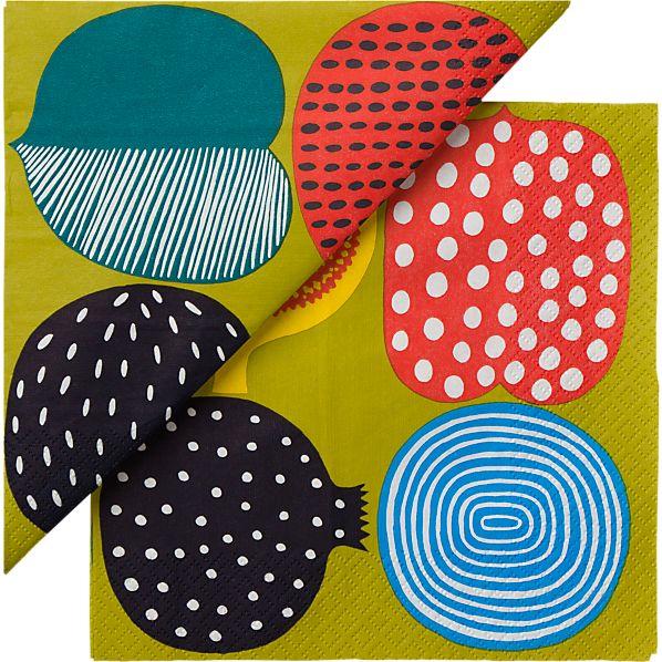 "Set of 20 Marimekko Kompotti Green and Multi Paper 6.5"" Napkins"