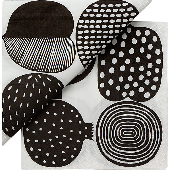 "Set of 20 Marimekko Kompotti White and Black Paper 6.5"" Napkins"