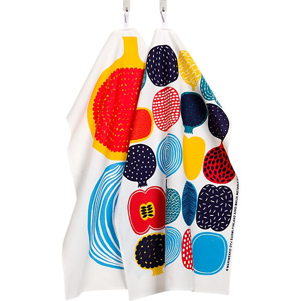 Set of 2 Marimekko Kompotti Multi Dishtowels