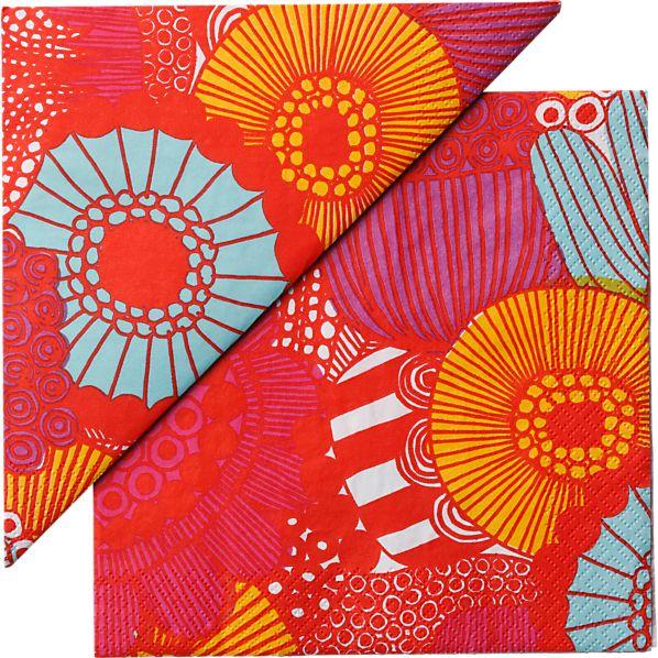 "Set of 20 Marimekko Kotipuutarha Red and Orange and Blue Paper 6.5"" Napkins"