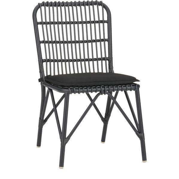 Kruger Black Dining Chair with Sunbrella ® Black Cushion
