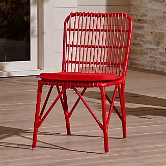 Kruger Ribbon Red Dining Chair with Sunbrella ® Ribbon Red Cushion
