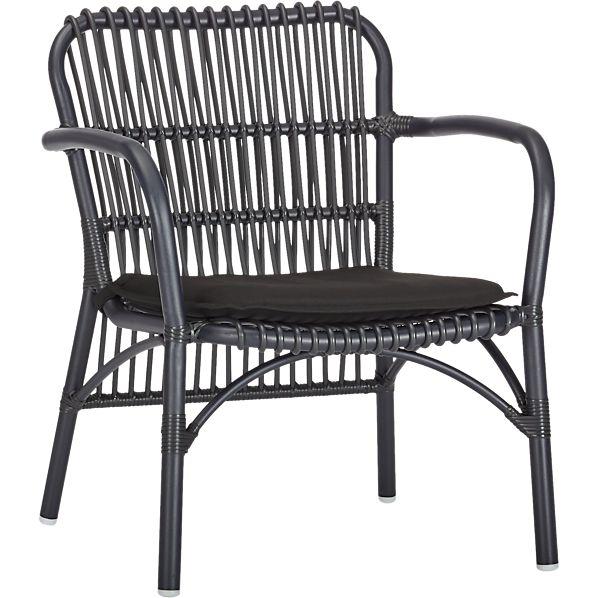 Kruger Black Lounge Chair with Sunbrella ® Black Cushion