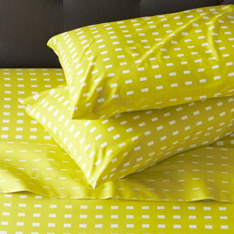 "The subtly graduated rectangles of Marjaana Virta's clean design layer the bed with rich color and mix-friendly pattern in soft cotton percale. Sheets and cases have generous 4 "" hems. Fitted sheet has a deep 16 "" pocket to accommodate thicker mattresses. Set includes one flat sheet, one fitted sheet and two standard pillowcases. Bed pillows also available.<br /><br /><NEWTAG/><ul><li>Designed by Marjaana Virta</li><li>100% cotton percale</li><li>300-thread-count</li><li>Sheets and cases have 4"" hems</li><li>Machine wash cold, tumble dry low; warm iron as needed</li><li>Made in Pakistan</li></ul>"