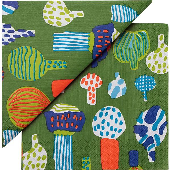 "Set of 20 Marimekko Kuukuna Green Paper 6.5"" Napkins"