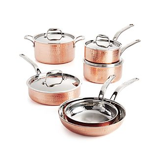Lagostina Martellata Hammered Copper 10-Piece Cookware Set