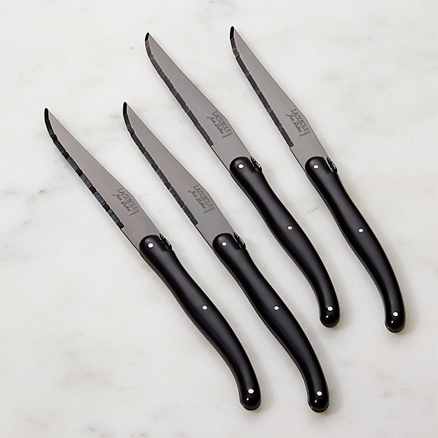 Laguiole 174 Black Steak Knives Set Of Four Crate And Barrel