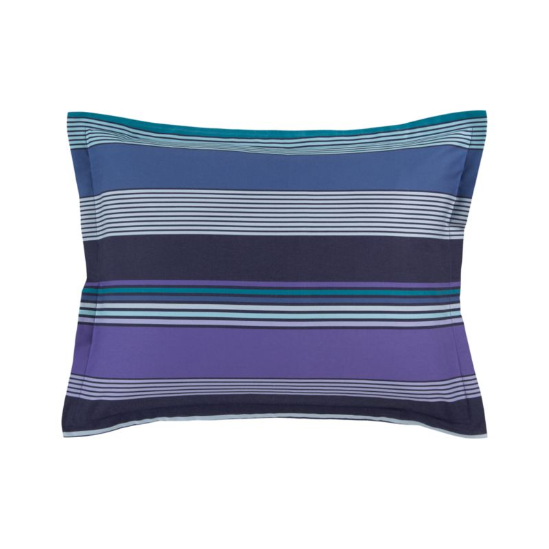 """A wonderful variation of weaves lends rich texture to broad bands of tonal blues, greens and iris in this fresh cotton quilt. Shams are random-cut for variation and visual interest and have 1"""" flange and overlapping back closures. Bed pillows also available.<br /><br /><NEWTAG/><ul><li>100% cotton</li><li>190-thread-count</li><li>Pattern placement on shams may vary from sample shown</li><li>Machine wash</li><li>Made in Portugal</li></ul>"""