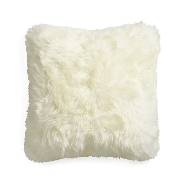 "Lambskin 16"" Pillow with Feather-Down Insert"