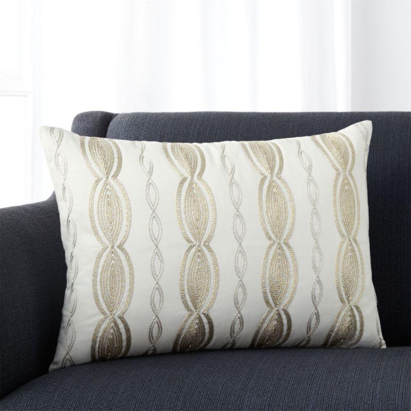 "Lametta 22""x15"" Pillow with Down-Alternative Insert"