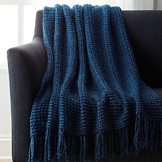 Landyn Blue Chunky Knit Throw