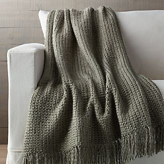 Landyn Silver Sage Green Chunky Knit Throw