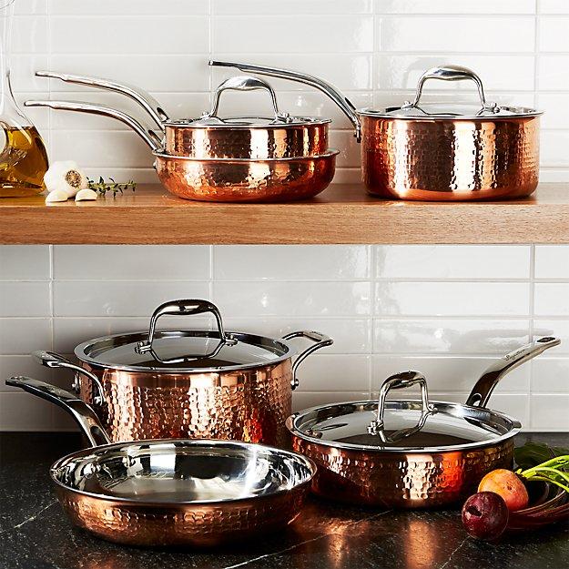 Lagostina Martellata Hammered Copper 10 Piece Cookware Set
