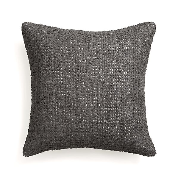 "Lanzo Grey 20"" Pillow with Feather Insert"