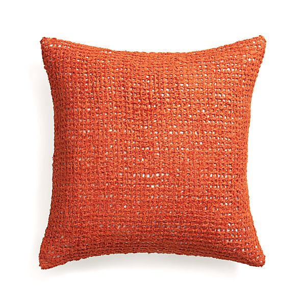 """Lanzo Orange 20"""" Pillow with Feather Insert"""