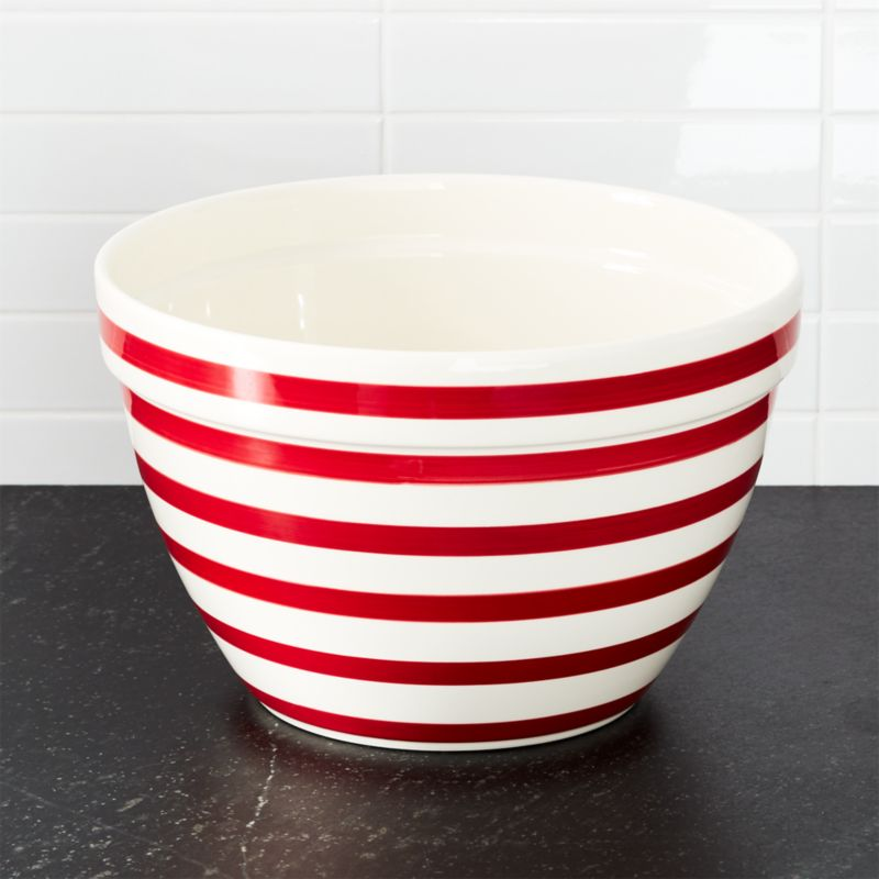 Red and White Stripe Large Bowl