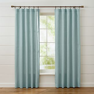 Largo Aqua Linen Curtain Panels