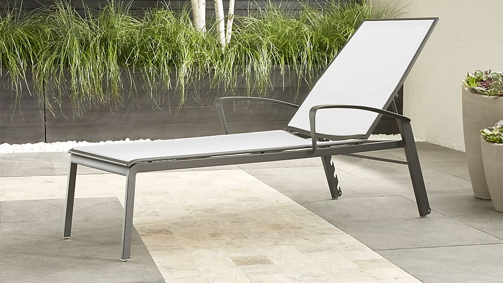 Largo White Mesh Chaise Lounge