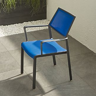 Largo Mediterranean Blue Mesh Dining Chair
