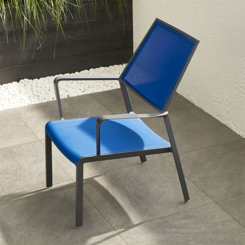 Largo Mediterranean Blue Mesh Lounge Chair