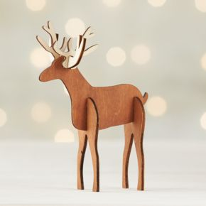 Laser-Cut Wood Deer