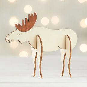 Laser-Cut Wood Moose