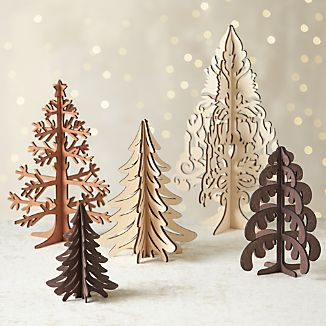Laser-Cut Wood Trees