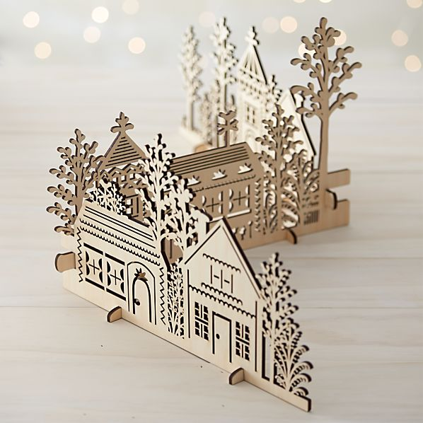 3-Piece Laser-Cut Wood Village