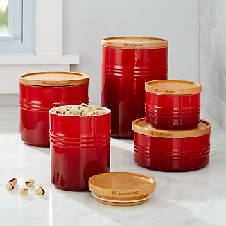 Le Creuset Canisters with Wood Lid