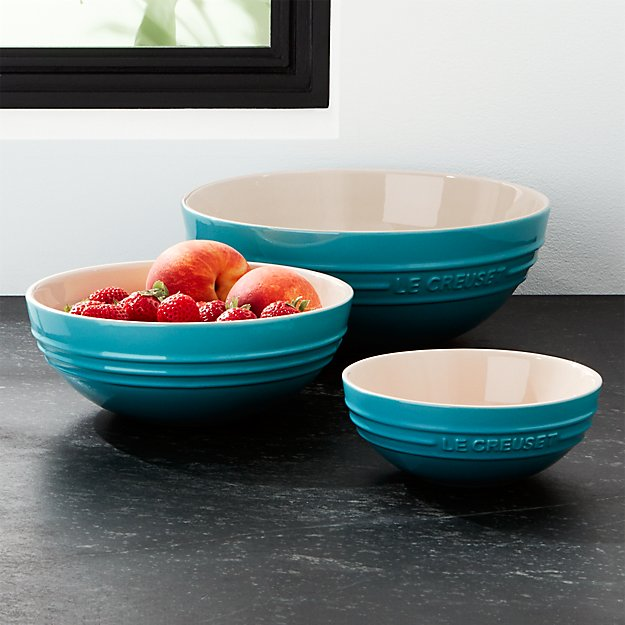 Le Creuset ® Caribbean Blue Ceramic Multi Bowls Set of Three