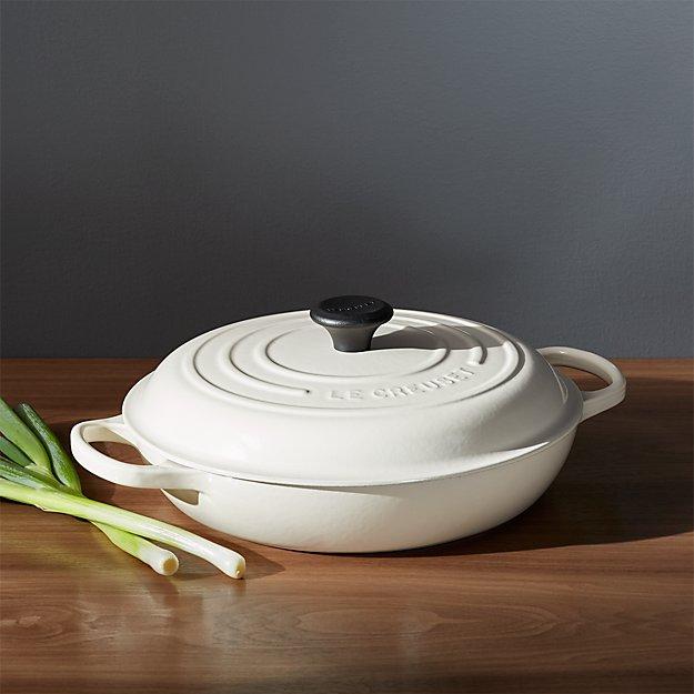 le creuset signature qt cream everyday pan crate and barrel. Black Bedroom Furniture Sets. Home Design Ideas