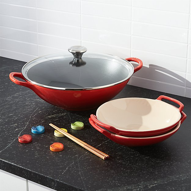 le creuset cast iron wok set crate and barrel. Black Bedroom Furniture Sets. Home Design Ideas