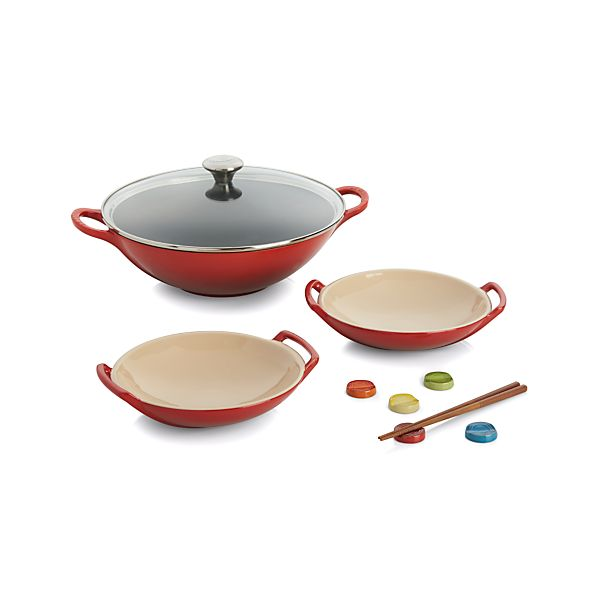 le creuset cherry wok set in woks crate and barrel. Black Bedroom Furniture Sets. Home Design Ideas