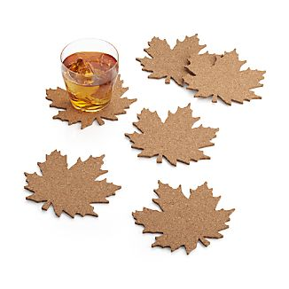 Set of 6 Leaf Cork Coasters