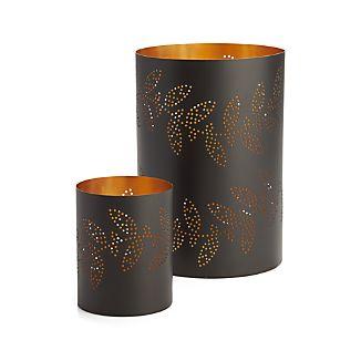Sprig Metal Hurricane Candle Holders