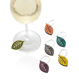 Set of 6 Leaf Wine Charms