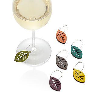 Set of 6 Leaf Wine Charms