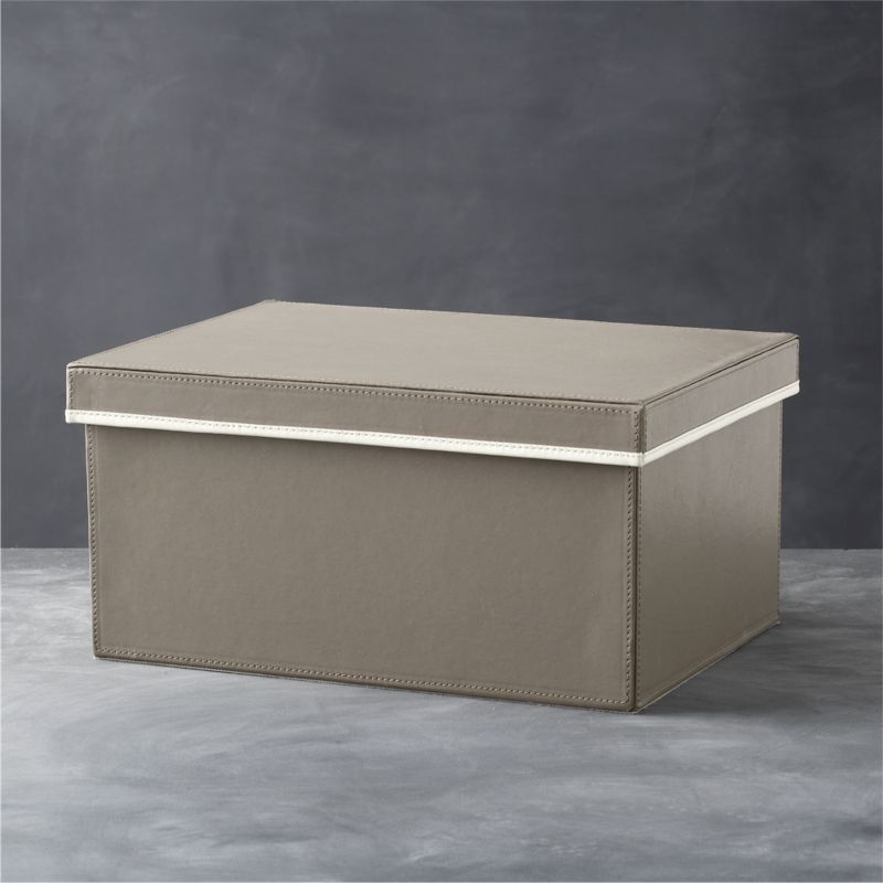 Display-worthy and animal-friendly, this two-tone faux leather box handsomely stores essentials in plain sight. The neutral soft grey is accented with cream contrast piping and finished with stitching detail and soft, protective fabric lining.<br /><br /><NEWTAG/><ul><li>Faux leather exterior over cardboard and engineered wood</li><li>Non-woven fabric lining</li><li>Clean with a dry cloth</li><li>Made in China</li></ul>