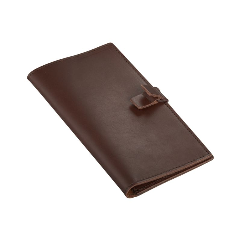 Slim wallet in chocolate full-grain, aniline-dyed leather travels light and smart with user-friendly compartments for credit cards, passport, tickets and pen. Elastic tab closure allows for easy access.<br /><br /><NEWTAG/><ul><li>Full-grain, aniline-dyed leather</li><li>Tab closure</li><li>Clean with leather cleaner</li><li>Made in Thailand</li></ul>