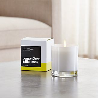 A flicker of fragrance to renew home and spirit. Our exclusive collection of handpoured, soy-blend candles brings together unique scent pairings to express your style and mood. The uplifting tang of lemon zest and the lovely scent of orange, jasmine and bergamont blossoms mingle with sweet lime, fresh air accord, cashmere musk, sandalwood and cedar.