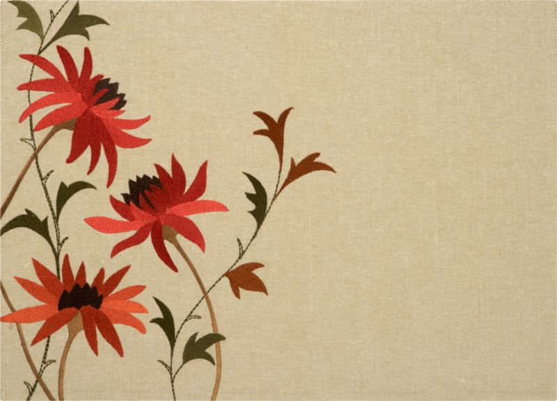 Blooms and foliage in paprika and cayenne branch in raised-relief embroidery on natural cotton chambray with an organic linen look.<br /><br /><NEWTAG/><ul><li>100% cotton with rayon embroidery</li><li>Machine wash; warm iron as needed</li></ul><br />